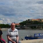Nowy Sad. Widok na Dunaj. W oddali Twierdza Petrovaradin-XVIIIw.